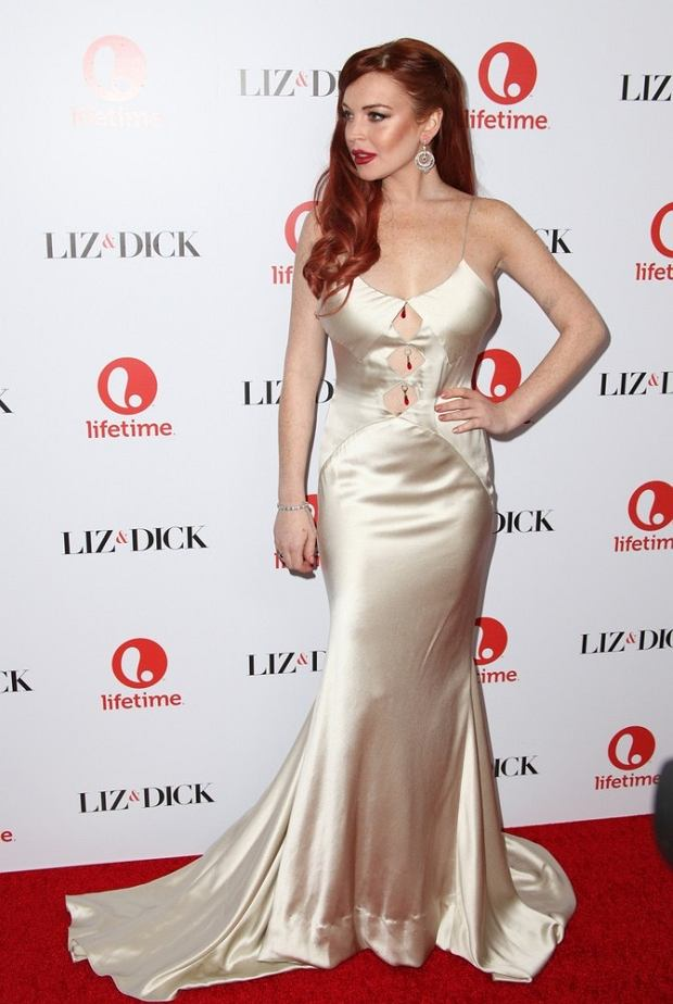 "20 November 2012 - Beverly Hills, California - Lindsay Lohan. Lifetime presents ""Liz & Dick"" - Los Angeles Premiere Held At Beverly Hills Hotel.    CAP/ADM/KB ??Kevan Brooks/AdMedia/Capital Pictures"