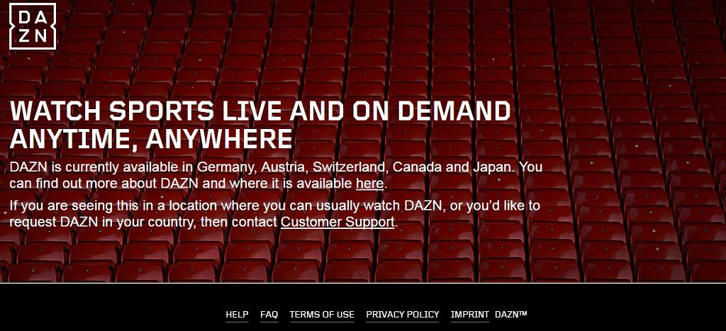 Strona internetowa DAZN