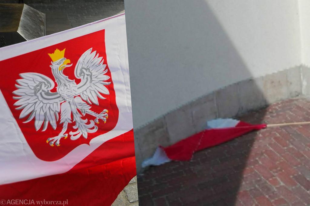 Flaga na ziemi.