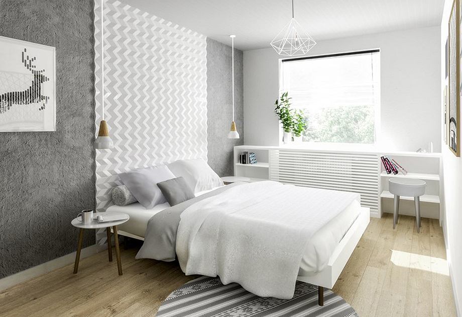 Sypialnia szaro-biała