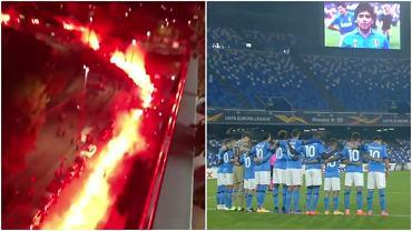Pożegnanie Diego Maradony przed i w trakcie meczu Napoli - Rijeka w Lidze Europy