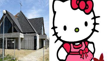 Nowy kościół parafii p.w. św. Teresy od Dzieciątka Jezus oraz wizerunek Hello Kitty