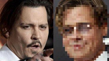 """Johnny Depp zrobił niemałą """"furorę"""" swoim niekorzystnym wyglądem, gdy ostatnio pojawił się na imprezie. Jednak łeb w łeb w wywieraniu złego wrażenia idzie z nim Brad Pitt. Nie wiemy, czy to przez niemodne okulary czy może przez nową fryzurę, ale 51-letni aktor sprawiał wrażenie zaniedbanego."""