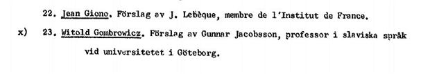 Długa lista nominowanych do Literackiego Nobla w '66