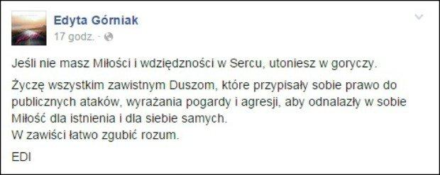 Edyta Górniak odpowiada na ataki