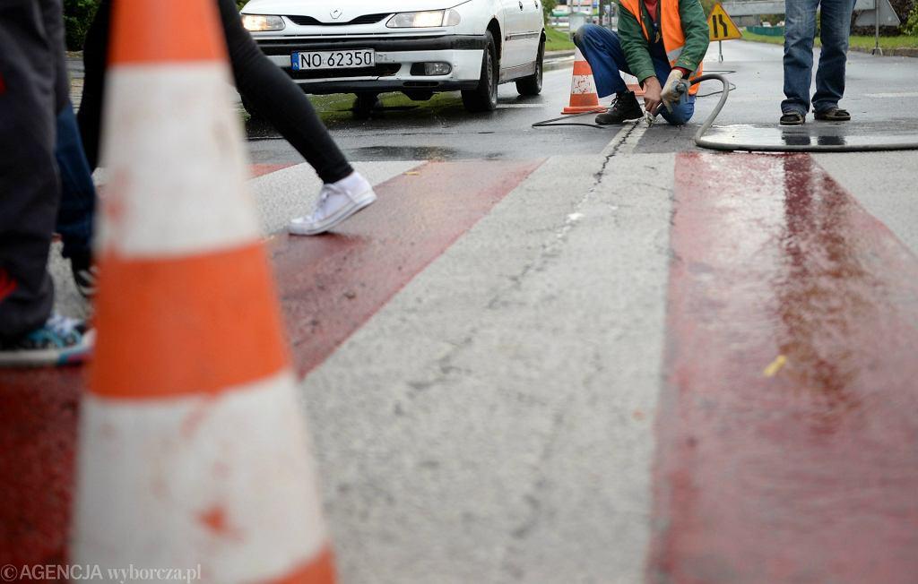 Biało-czerwone przejście dla pieszych (zdjęcie ilustracyjne)