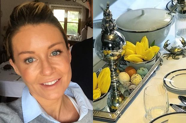 """Małgorzata Rozenek pochwaliła się, jak przystroiła swój dom na święta Wielkanocne. Na perfekcyjnie zastawionym stole pojawiły się serwety z wyhaftowanymi inicjałami """"MRM""""."""