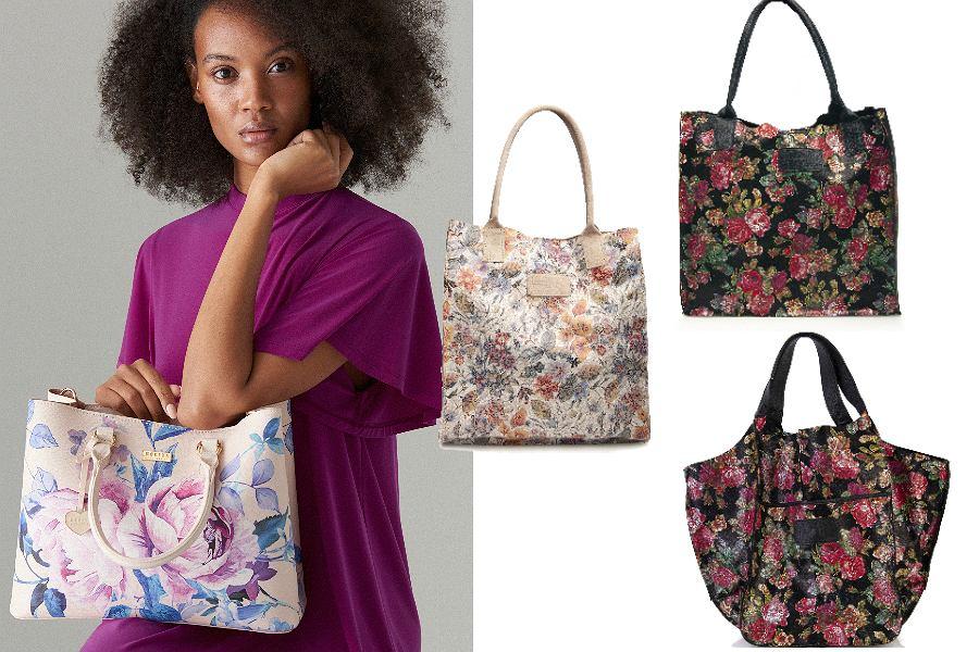 pojemne torebki w kwiatowe wzory