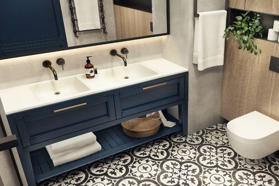 Szafka łazienkowa z umywalkami