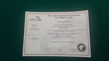 Certyfikat JACIE