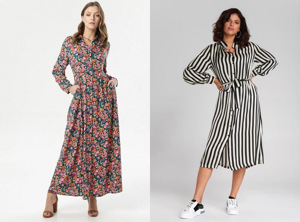 Wzorzyste sukienki o koszulowym kroju