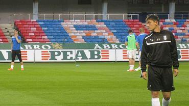 Trening Lecha Poznań przed meczem z AIK Solna - trener Mariusz Rumak