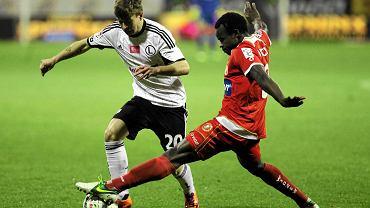 Widzew - Legia 0:1. Princewill Okachi i Jakub Kosecki