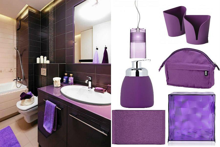 Łazienka z fioletowymi dodatkami