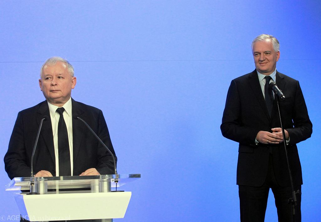 Minister nauki i szkolnictwa wyższego w rządzie PiS Jarosław Gowin i prezes partii Jarosław Kaczyński