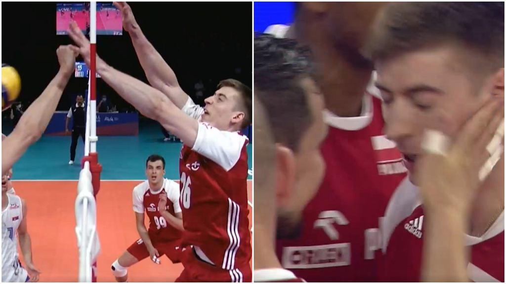 Blok Kamila Semeniuka w meczu Polska - Serbia w Lidze Narodów