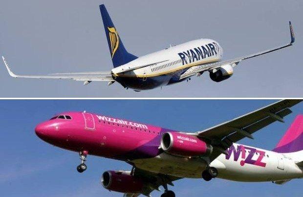 Samoloty linii Ryanair i Wizz Air