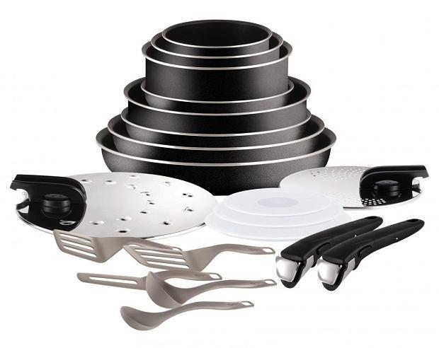 Garnki Tefal - czarny zestaw przeznaczony dla płyt gazowych