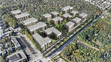 Wizualizacja osiedla, które spółka Green Park Silesia chce wybudować osiedle na terenie dawnego Ośrodka Postępu Technicznego w Chorzowie