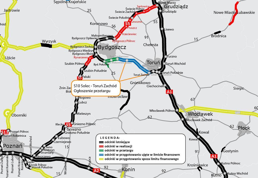 Mapa trasy S10 pomiędzy Bydgoszczą a Toruniem