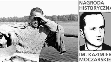 Kazimierz Moczarski w 1956 r. oraz logo Nagrody im. Moczarskiego
