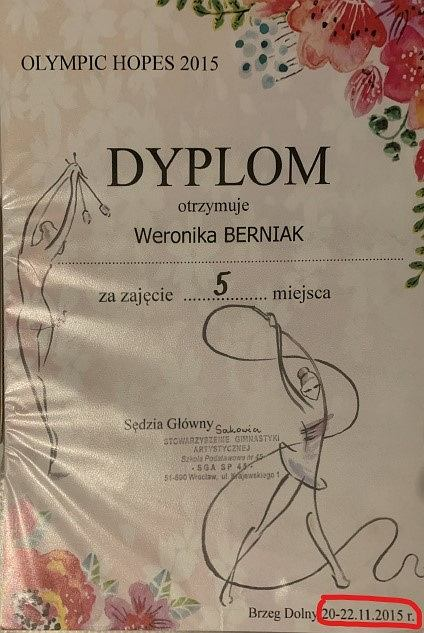 Dyplom dla Weroniki Berniak za 5. miejsce w zawodach rozegranych od 20 do 22 listopada 2015 roku