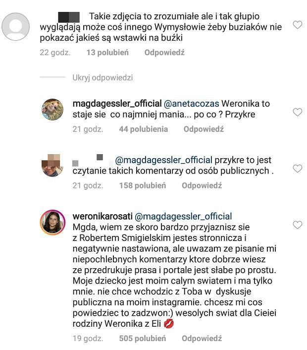 Magda Gessler krytykuje na Instagramie Weronikę Rosati