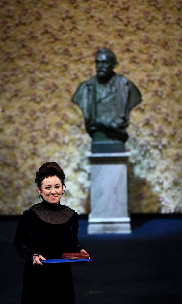 Polish author and co-laureate of the 2019 Nobel Prize in Literature Olga Tokarczuk poses with her Nobel Prize during the Award ceremony 2018 on December 10, 2018 at the Concert Hall in Stockholm, Sweden. (Photo by Jonathan NACKSTRAND / AFP)