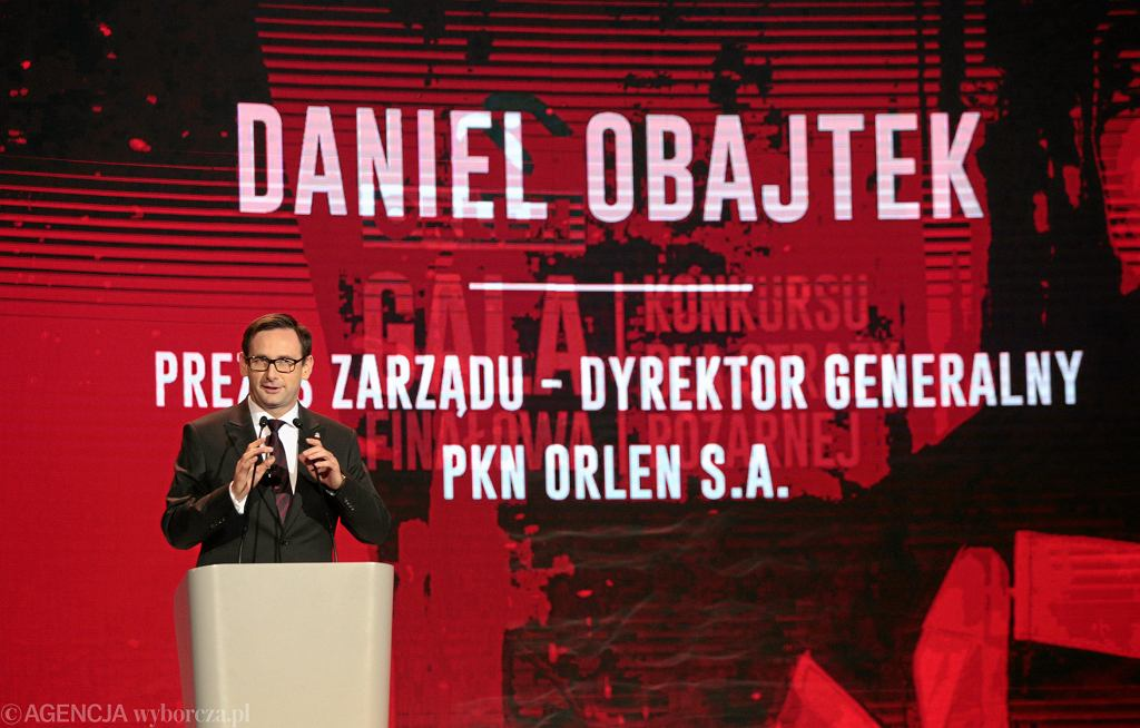 Prezes Orlenu, były wójt gminy Pcim Daniel Obajtek podczas Gali Straży Pożarnej 2018. Kielce 27 września 2018
