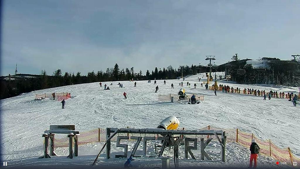 Widok z kamery na Halę Skrzyczeńską w ośrodku Szczyrk Mountain Resort