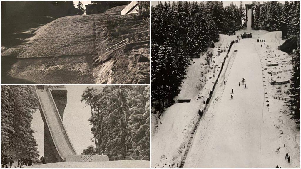 Skocznia Bergisel przed przebudową (górne zdjęcie po lewej stronie i to po prawej) i po przebudowie (dolne zdjęcie po lewej stronie)