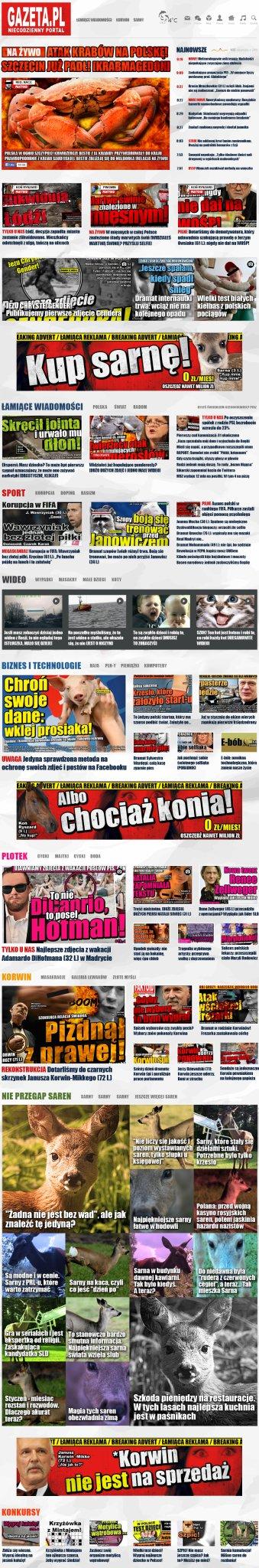 Faktoidowa Gazeta.pl - Gazeta.pl ma od dzisiaj nową stronę główną. Tak by wyglądała, gdyby projektował ją Red. Nacz. (wiek do wiadomości redakcji) - Faktoid