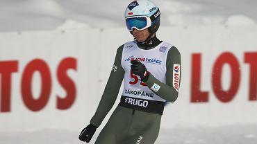 Kamil Stoch podczas zawodów Pucharu Świata w skokach narciarskich. Zakopane, 12 stycznia 2021