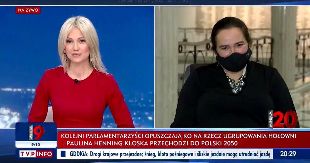 Magdalena Ogórek i Anita Kucharska-Dziedzic w programie 'Minęła 20' w TVP, 15.02.2021.