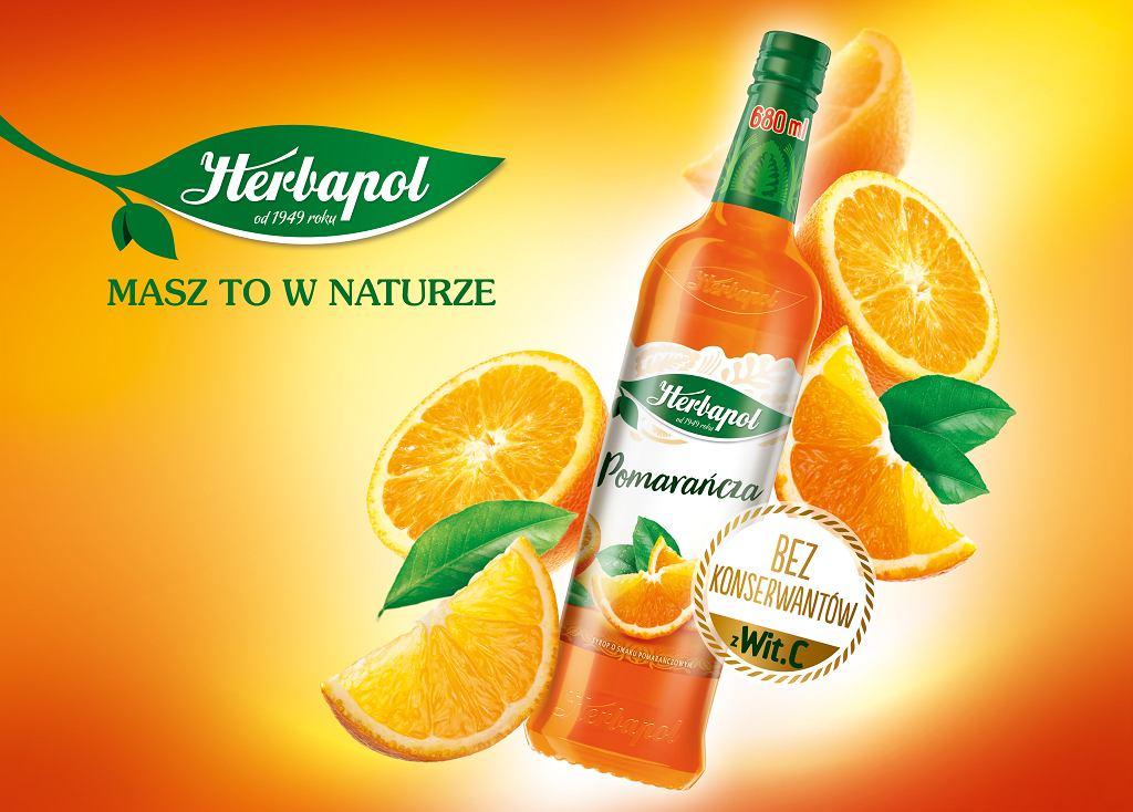 Syrop o smaku pomarańczowym marki Herbapol