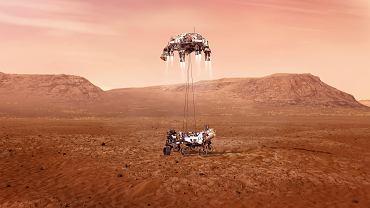 Ostatni etap lądowania na Marsie. Latający dźwig opuszcza na nylonowych kablach z wysokości 20 m łazik Perseverance