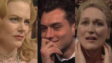 """Ceremonia oscarowa to dla gwiazd Hollywood jeden z najbardziej krytycznych momentów w karierze zawodowej. W ciągu jednej chwili mogą stać się właścicielami najmocniej pożądanej statuetki w branży, albo... obejść się jedynie smakiem. Oczywiście, więcej gwiazd spotyka to drugie. Jak reagują w momencie, kiedy NIE DOSTANĄ Oscara? Portal """"BuzzFeed"""" pokusił się o zrobienie stosownego zestawienia, a my, zainspirowani ich artykułem, wybraliśmy dla Was najciekawsze i najśmieszniejsze miny, jakie robią wtedy gwiazdy."""