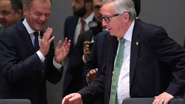 Donald Tusk i Jean-Claude Juncker na szczycie w Brukseli, 28 maja, 2019 r.