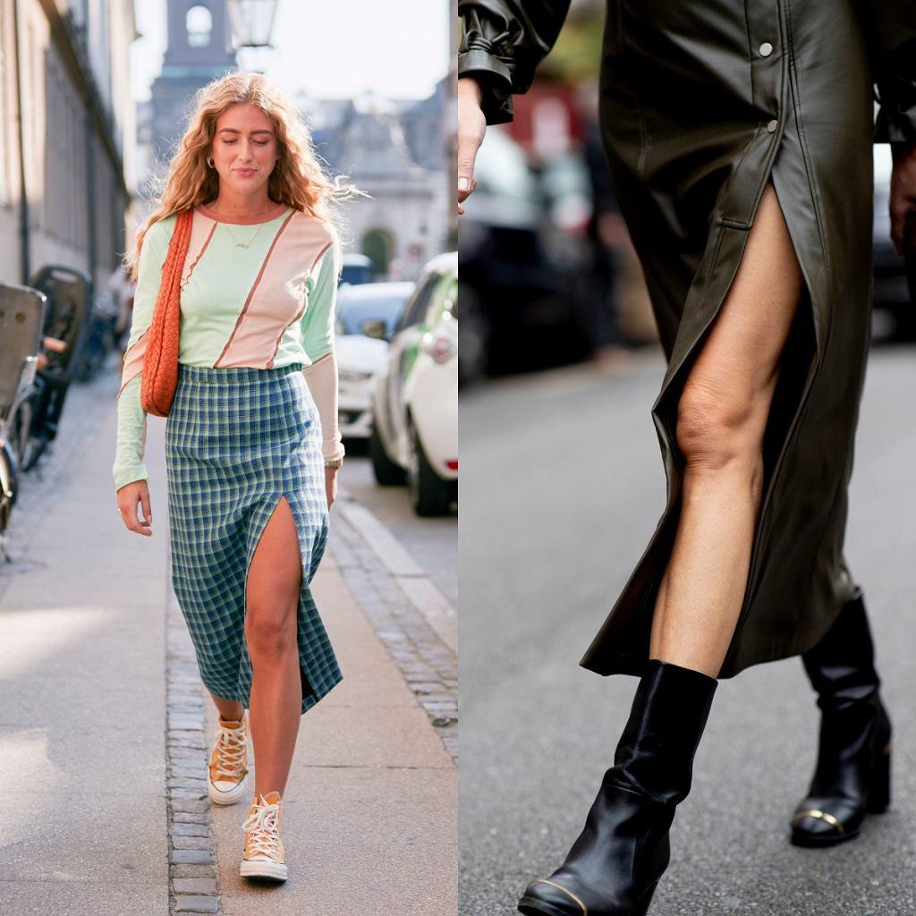 Moda 2020 - spódnice midi z rozporkiem