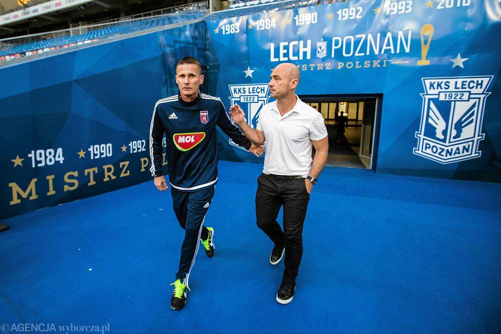 Trening Videotonu Szekesfehervar przed meczem z Lechem Poznań. Trener Tamas Peto i dyrekto sportowy Zoltan Kovacs