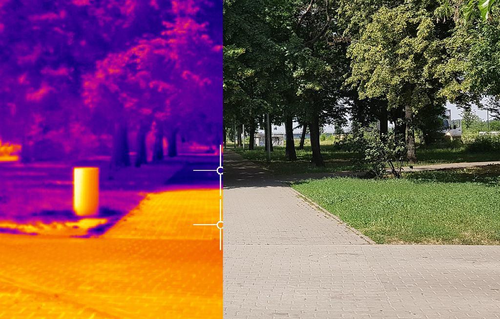 Porównanie obrazu z kamery termowizyjnej i zwykłego aparatu