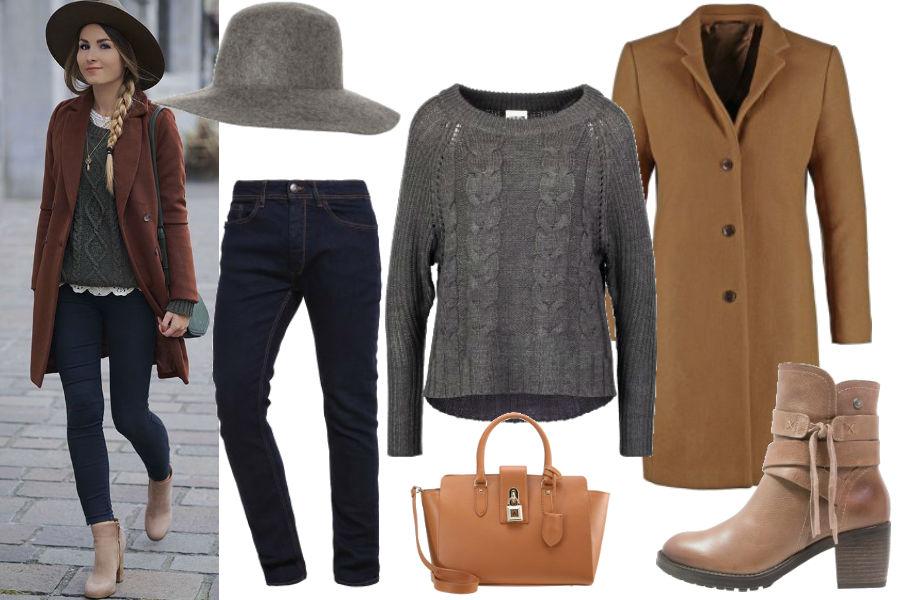 gurl.com, szary sweter, camelowy płaszcz, brązowe botki