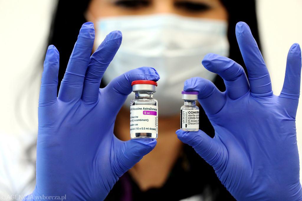 Szczepionka przeciwko COVID-19 firmy AstraZeneca i Pfizer.
