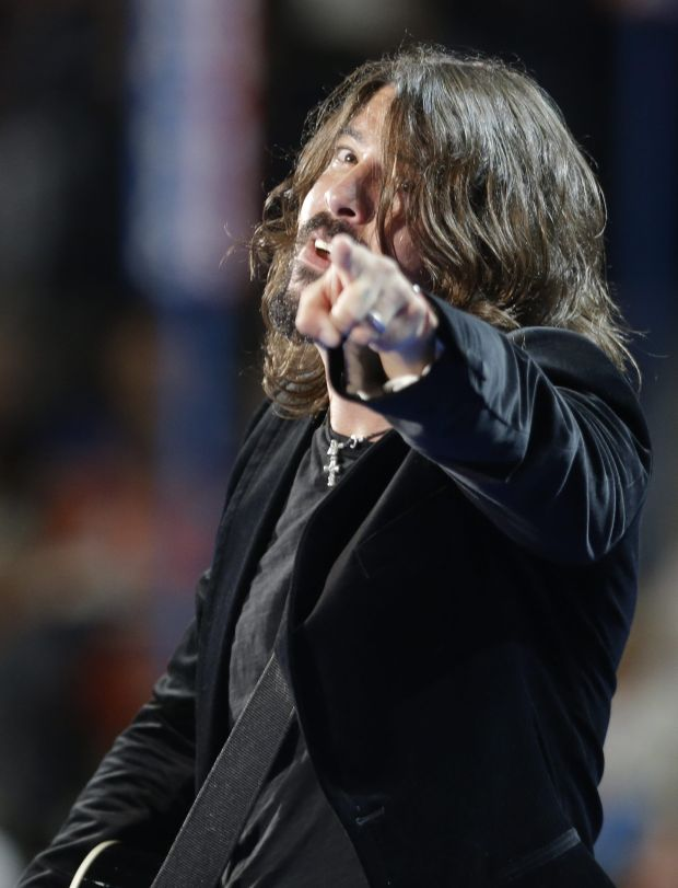 Foo Fighters performs at the Democratic National Convention in Charlotte, N.C., on Thursday, Sept. 6, 2012. (AP Photo/David Goldman)