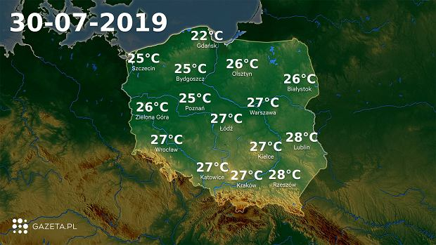 Pogoda na dziś - wtorek 30 lipca.