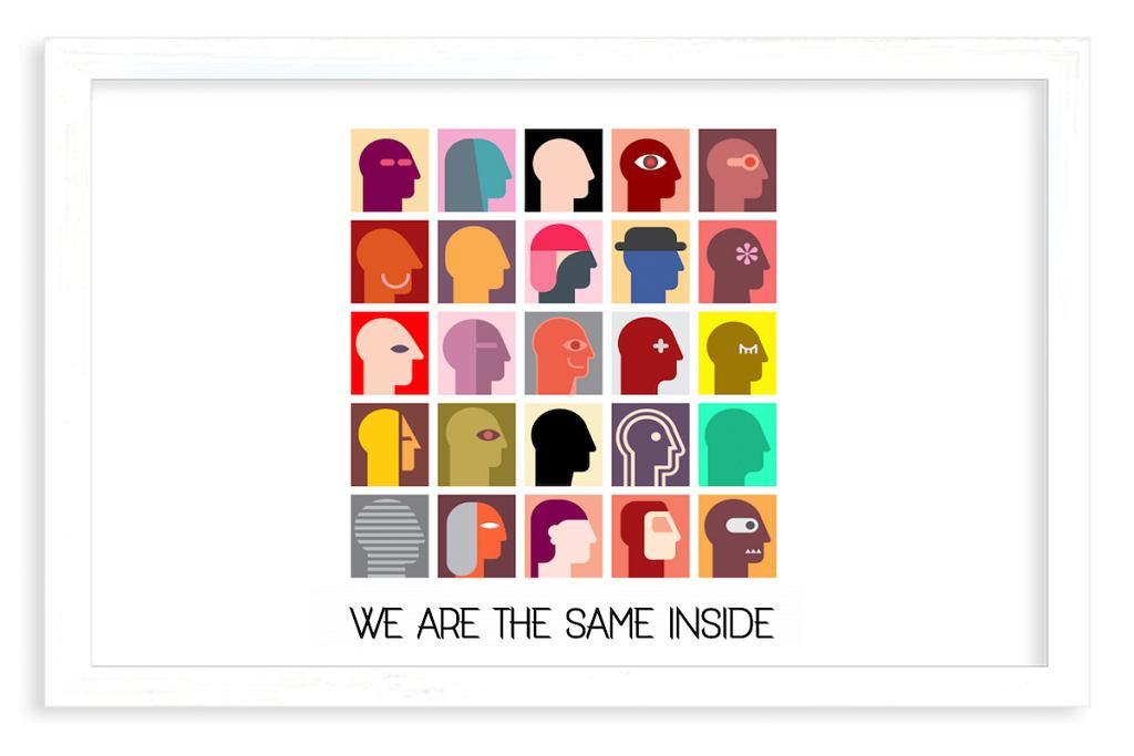 Plakat w ramce 'Minimalistic', z cytatem 'We are the same inside'.