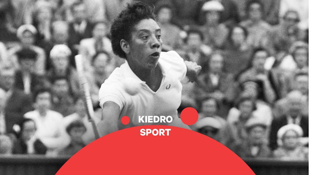 Althea Gibson (1927-2003) podczas meczu turnieju wimbledońskieg