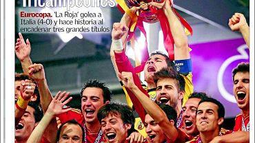 """Reprezentacja Hiszpanii rozbiła w Kijowie Włochów 4:0 i zdobyła złoto mistrzostw Europy. Radość zwycięzców, smutek pokonanych uwieczniono na okładkach gazet na całym świecie. Na początek """"Wieczna Hiszpania"""" i gazeta """"Canarias 7"""""""