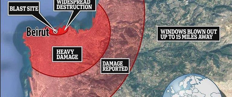 Skala zniszczeń po wybuchu w Bejrucie przeraża. Tysiące rannych [MAPA]