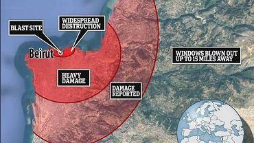 Skala zniszczeń po wybuchu w Bejrucie poraża. Był słyszany z 240 km [MAPA]
